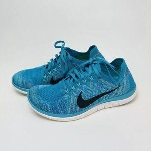 NIKE Womens 8.5 Free 4.0 Flyknit Running Shoe Blue